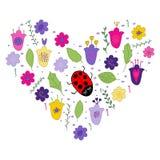 Kwitnie doodle i doodle liście w hearth kształcie royalty ilustracja