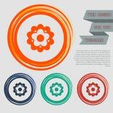 Kwitnie ikonę na guzikach dla twój strony internetowej i projekcie z astronautycznym tekstem czerwonych, błękitnych, zielonych, p ilustracji