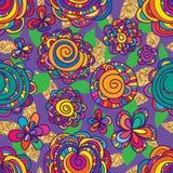 Kwitnie kolorowych rysunkowych złocistych błyskotliwość liści bezszwowego wzór Fotografia Stock