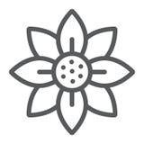 Kwitnie kreskową ikonę, okwitnięcie i flory, kwiecisty znak, wektorowe grafika, liniowy wzór na białym tle ilustracji