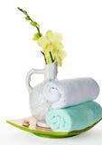 Kwitnie orchidei, masaży kamieni i ręczników dla zdroju, Obrazy Royalty Free