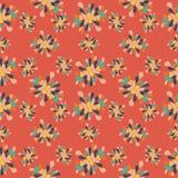 Kwitnie płatka Abstrakcjonistycznego bezszwowego wzór na pomarańczowym tle Obrazy Stock