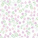 Kwitnie rośliny akwareli zielonego koloru purpurowego bezszwowego wzór Ilustracja Wektor