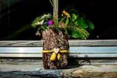 Kwitnie w drewnianym handmade flowerpot, Grossglockner, Austria Fotografia Stock
