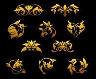 kwitnie złotego rocznika ilustracja wektor