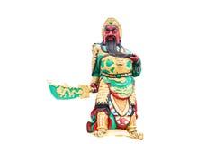 Kwnao de statue sur le fond blanc, légende chinoise du St du dieu images libres de droits