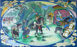 Kwnao, trois royaumes peignant le tableau de couleur Photographie stock