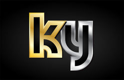Gold silver letter joint logo icon alphabet design Royalty Free Stock Photography