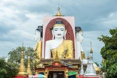 Kyaik-Pun Pagoda in Bago, Myanmar. Kyaik-Pun Pagoda, Four towering images of the Buddha sitting back to back, Myanmar Stock Images