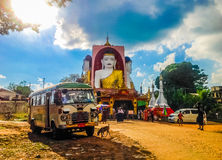 Kyaik pun pagoda, Bago, Myanmar. The heritage site of Bago, in front of Kyaik pun pagoda royalty free stock photography