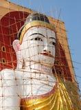 KYAIK PUN PAYA, Buddha Image. Between restore, stupa, Bago, Myanmar Royalty Free Stock Image