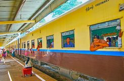 Train on Kyaiktiyo railway station, Myanmar royalty free stock images