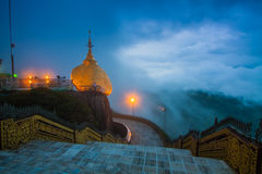 Kyaiktiyo Pagoda the golden rock in in Mon State, Myanmar Stock Photo