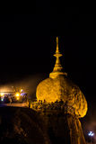 Kyaiktiyo Pagoda at night (GOLDEN ROCK PAGODA), MY Royalty Free Stock Photos