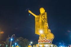 Image Of Buddha. Kyainge Tong, Myanmar - March 10: Image Of Buddha Statue At Dark Night Background Is A Popular Tourists Attraction On March 10, 2017 In Kyainge Stock Photos