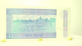 1 Kyat Paper Bill stock footage