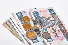 Kyats e moedas de Myanmar Burma Fotografia de Stock