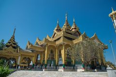 Kyauk Taw Gyi Pagoda Largest marble Buddha image in Burma .The Kyauk Taw Gyi pagoda on Mindhama Hill near Yangon airport is known. For enormous Buddha image royalty free stock image