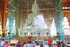 Kyauk Taw Gyi Pagoda, Yangon, Myanmar. Kyauk Taw Gyi Pagoda is one of the biggest marble Buddha Images in Myanmar with a height of 37ft and a weight of weighs Royalty Free Stock Photos