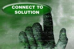 Kybernetik übergibt und knöpft mit Wort der Lösung Stockbilder
