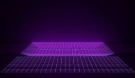 Kybernetischer Retro- Neonraum in den rosa und blauen glühenden Gitter 3d übertragen Stockbild