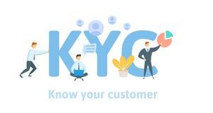 KYC, conocen a su cliente Concepto con palabras claves, letras e iconos Ejemplo plano del vector en el fondo blanco libre illustration
