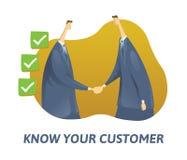 KYC, conocen su concepto del cliente Hombres de negocios que sacuden la mano y las casillas rellenadas Ejemplo plano coloreado de stock de ilustración