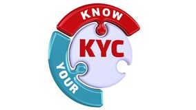 KYC. Know Your Customers. The check mark in the form of a puzzle. The inscription `KYC. Know Your Customers` on the puzzle in the shape of a circle. Footage royalty free illustration