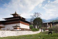 Kyerchutempel in Paro Bhutan Stock Afbeeldingen