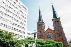 Kyesan cathedral in Daegu, Korea royalty free stock images
