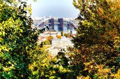 Kyev-Stadtbild, Ansicht von Kontraktova-Quadrat lizenzfreies stockfoto