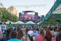 Kyiv的欧洲电视网村庄在乌克兰 07 05 2017年 社论 免版税库存照片