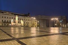 KYIV,乌克兰:2017年11月11日-奥尔加公主的纪念碑, StAndrew、西里尔和Methodius 免版税库存照片