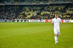 KYIV,乌克兰- 2018年3月15日, :在UEFA期间的足球运动员 免版税库存图片