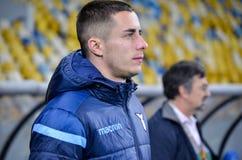 KYIV,乌克兰- 2018年3月15日, :在UEFA期间的足球运动员 免版税库存照片