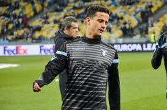 KYIV,乌克兰- 2018年3月15日, :在UEFA期间的足球运动员 库存图片