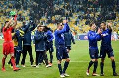 KYIV,乌克兰- 2018年3月15日, :足球运动员拉齐奥感谢 免版税库存照片