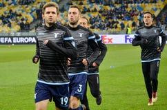 KYIV,乌克兰- 2018年3月15日, :足球运动员Laz训练  免版税库存图片