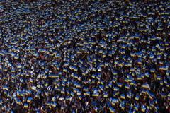KYIV,乌克兰- 2017年10月9日:乌克兰的国家队的爱好者在比赛2018年世界杯足球赛资格时 库存图片