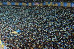 KYIV,乌克兰- 2017年10月9日:乌克兰的国家队的爱好者在比赛2018年世界杯足球赛资格时 免版税库存图片