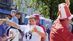 Kyiv,乌克兰- 2018年5月26日:帽子的滑稽的爱好者-冠军同盟 股票录像