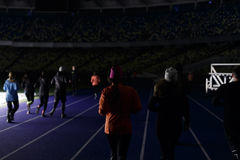Kyiv,乌克兰- 2017年3月02日, :安全委员会Olimpiiskiy 中央足球场在乌克兰 打开训练 图库摄影