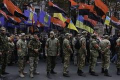 Kyiv,乌克兰- 2015年10月14日:乌克兰国民党活动家和支持者  免版税图库摄影