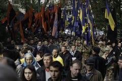 Kyiv,乌克兰- 2015年10月14日:乌克兰国民党活动家和支持者  库存照片
