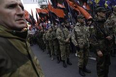 Kyiv,乌克兰- 2015年10月14日:乌克兰国民党活动家和支持者  免版税库存图片