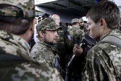 Kyiv,乌克兰- 2015年10月14日:乌克兰武力的乌克兰正统神父 免版税图库摄影