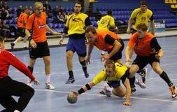 手球比赛乌克兰对荷兰 免版税库存照片