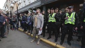 Kyiv, Ουκρανία 9 Απριλίου 2019 Τα ενεργά στελέχη και οι υποστηρικτές του εθνικού πολιτικού κόμματος σώματος παρευρίσκονται σε μια φιλμ μικρού μήκους