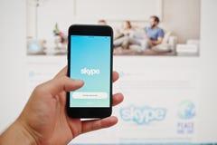 Kyiv, Ουκρανία - 11.2017 Ιουλίου: IPhone 7 της Apple με το applicati Skype Στοκ Εικόνες