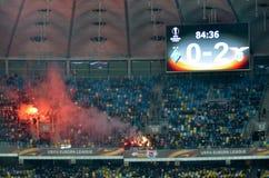 KYIV, ΟΥΚΡΑΝΊΑ - 15 Μαρτίου 2018: Δυναμό Κίεβο Ultras με τις αφίσες Στοκ Φωτογραφίες